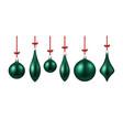 green isolated christmas balls set vector image vector image