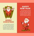 happy new year merry christmas cartoon santa vector image vector image