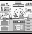 home kitchen interior line monochrome vector image vector image