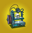human skull 3d printer manufacturing vector image