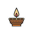 indian candle diwali diya oil lamp flat color vector image