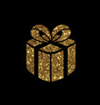 isolated glitter golden holiday gift box icon vector image vector image