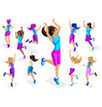 isometric of a big girl athlete against a backgro vector image vector image