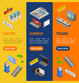 metro station 3d banner vecrtical set isometric vector image vector image