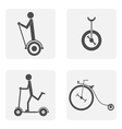 monochrome icon set with bicycle vector image