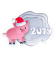 new year pig and 2019 numbers vector image vector image