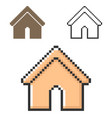 pixel icon home in three variants fully vector image vector image