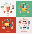 printdigital line icons set mobile shopping vector image vector image