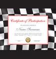 races rally certificate award diploma car racing vector image vector image