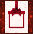 Red banner with ribbon and bow in form of gift vector image vector image