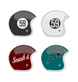 set four colored football helmets vector image