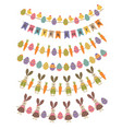 set of isolated happy easter garland vector image vector image