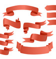 set of red ribbons for card vector image vector image