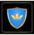 Shield gold icon with crown black vector image vector image