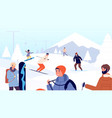 ski resort fun winter people skiers and vector image vector image