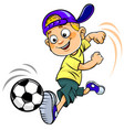 soccer cartoon kid vector image vector image