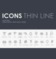 south korea thin line icons vector image