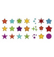 stars icon set color outline style vector image