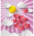 sun shine with balloon heart vector image vector image