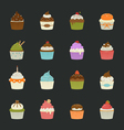 Sweet cupcakes icons vector image vector image