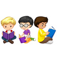Three boys reading books vector image vector image