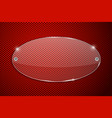 transparent glass plate on red perforated vector image