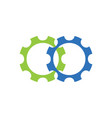 two gear logo silhouette design template simple vector image vector image