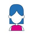 woman avatar female blue hair fuchsia clothes in vector image vector image