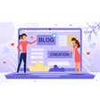 woman personal blog creation flat concept vector image vector image
