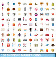 100 shopping market icons set cartoon style vector image vector image
