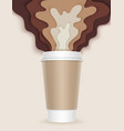 3d coffee cup with papercut coffee splashes and vector image vector image