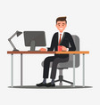 a businessman-entrepreneur in suit works at his vector image vector image
