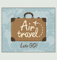 banner for air travel with brown suitcase vector image vector image