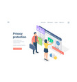 banner privacy protection website isometric vector image vector image