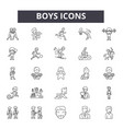 boys line icons for web and mobile design vector image