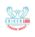 chicken logo fresh meat premium quality badge for vector image