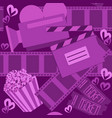 cinema and movie purple seamless pattern for web vector image