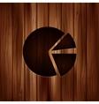 Circular diagram web icon Wooden texture vector image