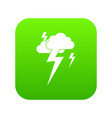 cloud and lightning icon digital green vector image