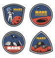 colored vintage mars research emblems set vector image vector image