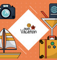 colorful poster of enjoy vacation with photo vector image vector image