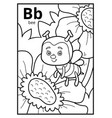 coloring book colorless alphabet letter b bee vector image vector image