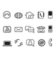 contact outline icons set vector image vector image