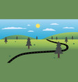 country road with nature landscape and sky vector image vector image