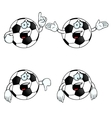 Crying cartoon football set vector image vector image