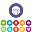 cube casino icons set color vector image vector image