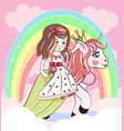 cute cartoon girl and unicorn vector image vector image