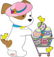 cute dog Easter eggs vector image vector image