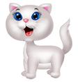 Cute white cat cartoon vector image vector image