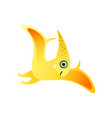 cute yellow red pterodactyl dinosaur in air flying vector image